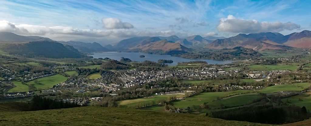 Looking south from Latrigg across Keswick and Derwentwater by Chris Wilson