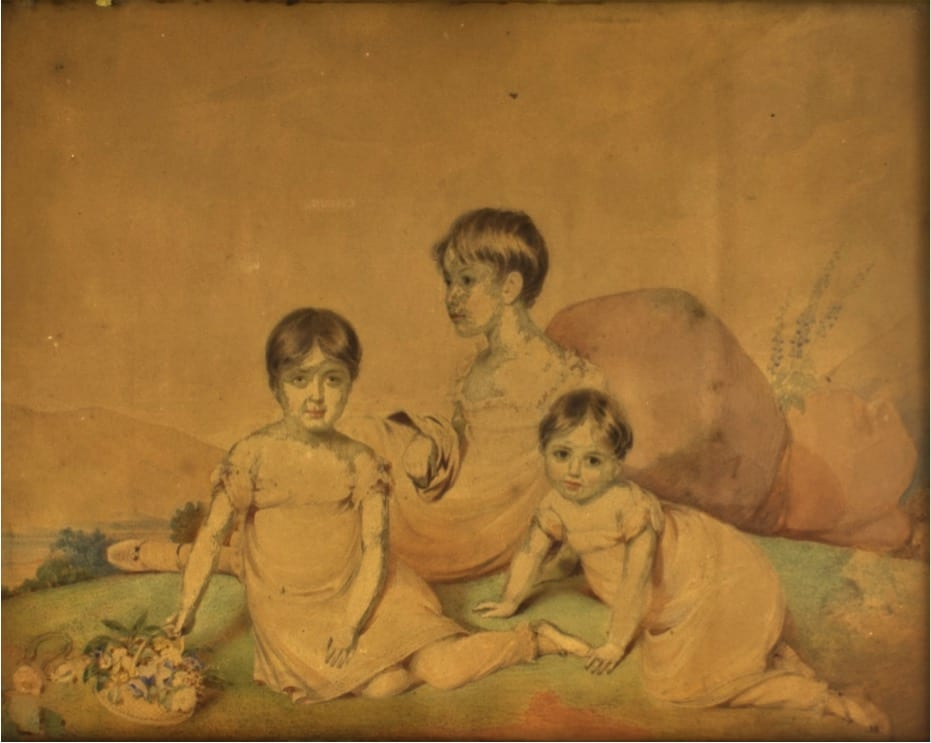 Bertha, Katharine and Isabel Southey by Edward Nash. The artist Edward Nash (1778-1821) was a close friend of the Southey family. During the time he spent with them at Greta Hall he painted this watercolour portrait of the three youngest Southey daughters: Bertha (1809-1877), Katharine (1810-1864) and Isabel (1812-1826).