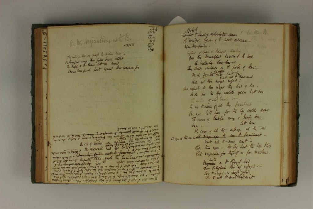 Robert Southey's pale blue notebook. This working notebook, used by Southey c. 1813-14, contains drafts of his writings. These include versions of the earliest poems he produced after being appointed as Poet Laureate in autumn 1813.