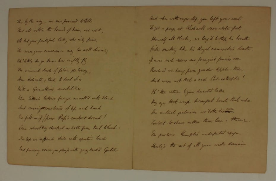 Page 2 of Poem from the Cats of Greta Hall to Robert Southey. Southey's love of cats became well-known in his own lifetime.  Whilst he was on a visit to the West Country in 1824 Southey was presented with this anonymous poem purportedly written by two of his cats. Its author was probably John Marriott (1780-1825), a Devonshire-based clergyman and poet.
