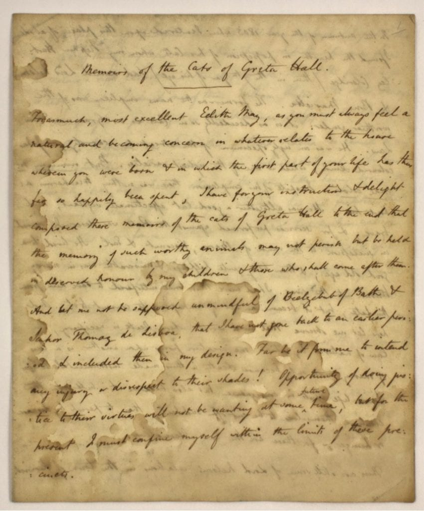 'Memoirs of the Cats of Greta Hall'. The Southey family were great 'philofelists', lovers of cats.  The Museum owns a copy of 'Memoirs of the Cats of Greta Hall', an account of the house's feline occupants written by Robert Southey for his eldest daughter Edith May.