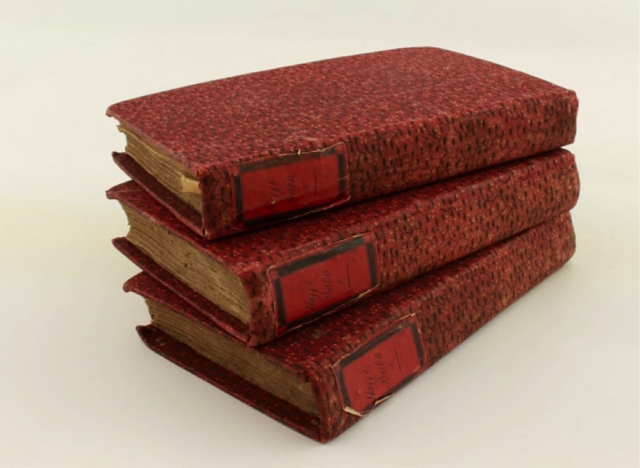 'Cottonian' books. Southey built up an extensive library of over 14,000 volumes.  Book binding was expensive and Southey was not wealthy.  To save money, Southey's female family and friends learned to bind some of the less valuable books in his collection, upcycling materials from old clothing and creating hand-made labels for the spines.  The Southey family described the c. 1400 books thus bound as 'Cottonian' volumes, a reference to the materials used for binding and a punning allusion to the famous collection of the antiquarian Sir Robert Cotton (1571-1631).  Keswick Museum is fortunate enough to own a few 'Cottonian' volumes, including those displayed here.