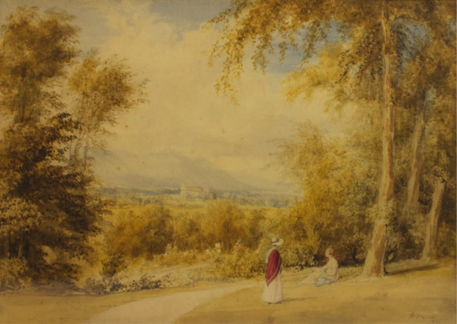 'In the Garden at Greta Hall' by William Westall, 1832. This is an image of the garden of the Southey family home, Greta Hall, which overlooks the town of Keswick. William Westall visited Southey and Wordsworth in the Lakes in the late 1810s and recorded many different landscapes from the area. Southey described Westall as 'by far the most faithful delineator of the scenery of the Lakes'.