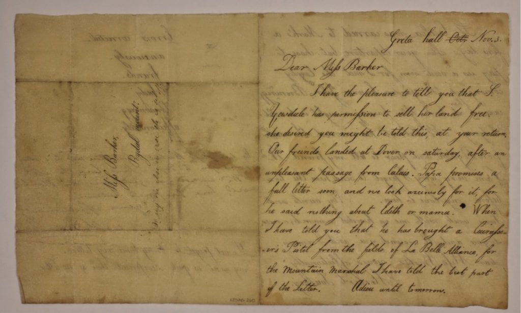 Page 1 of a letter from Herbert Southey to Mary Barker, with postscript by his aunt Sarah Coleridge. This letter was written by Herbert Southey to Mary Barker, a close friend of the family who for a time lived at Greta Lodge, next door to Greta Hall. Although only partially dated, the content dates the letter to 3 November 1815. Herbert died just over five months later on 17 April 1816, aged nine.