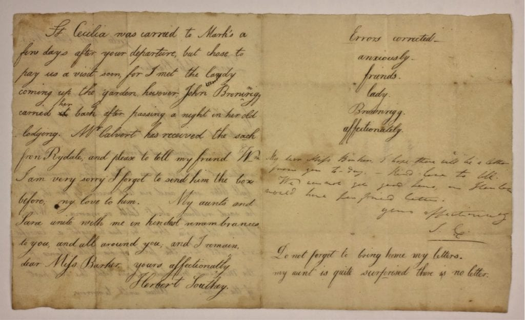 Page 2 of a letter from Herbert Southey to Mary Barker, with postscript by his aunt Sarah Coleridge. This letter was written by Herbert Southey to Mary Barker, a close friend of the family who for a time lived at Greta Lodge, next door to Greta Hall. Although only partially dated, the content dates the letter to 3 November 1815. Herbert died just over five months later on 17 April 1816, aged nine.