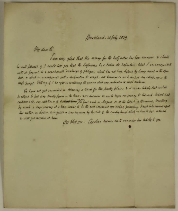 Letter from Robert Southey to Henry Herbert Southey, July 1839. By summer 1839 Southey was in poor health, suffering from bouts of confusion, memory loss, and tiredness. This letter, sent to his brother Henry Herbert Southey in July of that year shows the impact of his decline on his handwriting and cognitive processes. His illness proved to be degenerative and was soon to deprive him of the ability to write, read and speak. His last surviving letter dates from 6 September 1839 and his final years were recorded by others.