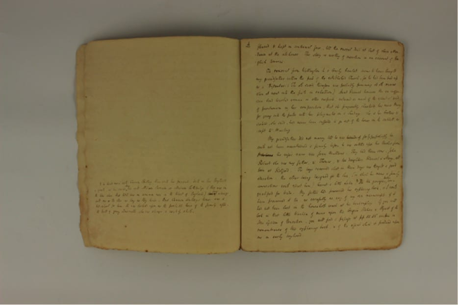 Robert Southey's autobiographical letter to John May (one of a series). Between 1820-26 Southey wrote a series of detailed autobiographical reminiscences. These took the form of letters to his old friend John May. Seventeen of these letters were completed and sent to May. An eighteenth was left incomplete and unsent. Southey hoped that his accounts would provide accurate information about his childhood for a future biographer. He therefore had copies made of the letters and a volume of these is now in the collection at Keswick Museum.