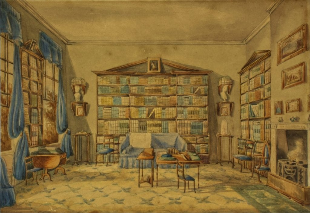 Two views of Southey's 'Cottonian' Library at Greta Hall by Hannah Felloby, 1838. These watercolours show how Southey spent much of his working life – at his desk, surrounded by his library.