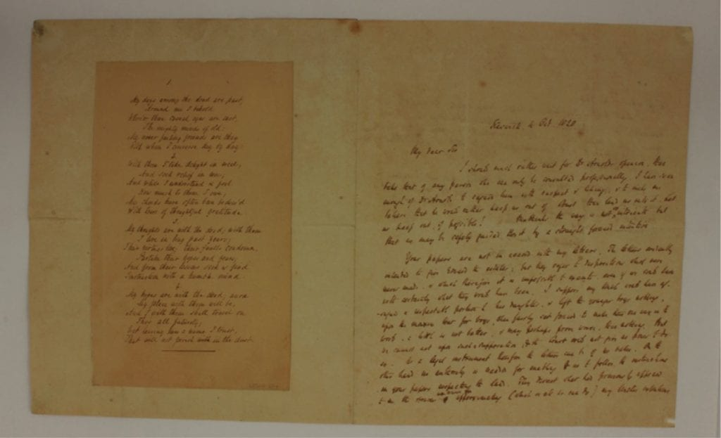 'My days among the dead are past' fair copy. The left-hand side of this images contains a copy, in another hand, of one of Southey's best-known shorter poems: 'My days among the dead are past'. First published in 1834 it was widely anthologised throughout the nineteenth and twentieth centuries.
