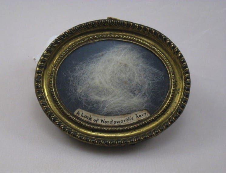 A lock of William Wordsworth's hair. Locks of hair were kept and given as mementos of friends and family, but also to represent personal connections to celebrities, in the same way we collect autographs. We cannot be certain of the provenance of this hair, but the note written on the item tells us it is a lock of Wordsworth's hair. This item in our collection represents the close relationship between Southey and his friend and colleague William Wordsworth.