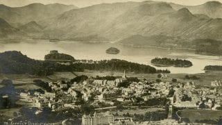Sepia photograph showing Derwentwater and Keswick from Latrigg fell